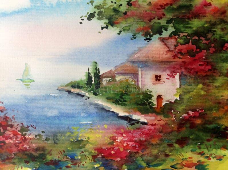 手工制造水彩五颜六色的明亮的织地不很细摘要的背景 地中海风景 沿海建筑学绘画  向量例证