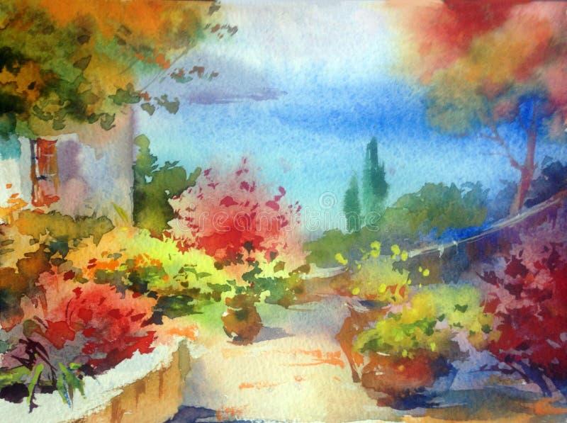 手工制造水彩五颜六色的明亮的织地不很细摘要的背景 地中海风景 绘沿海 向量例证