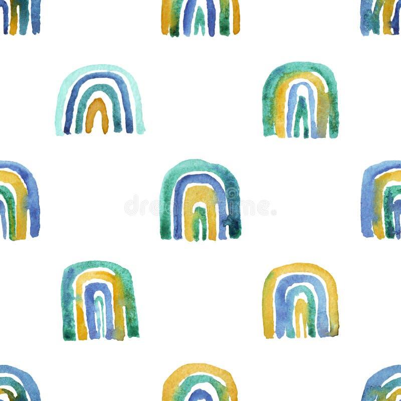 手工制造水彩彩虹的无缝的样式 向量例证