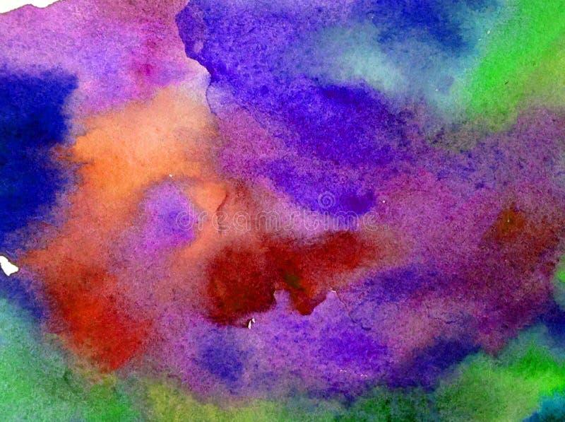 手工制造水彩抽象明亮的五颜六色的质地的背景 天空和云彩绘画在日落期间 宇宙模式 库存例证