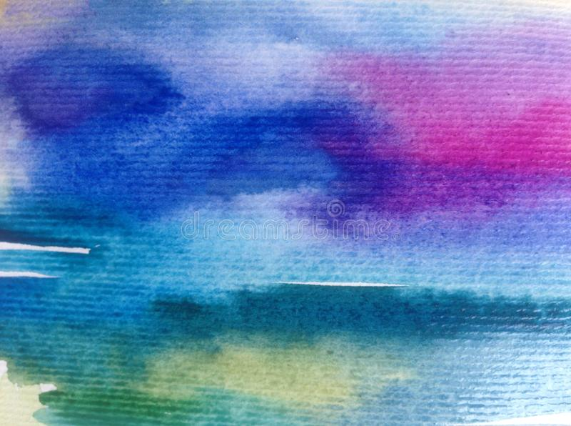 手工制造水彩抽象明亮的五颜六色的质地的背景 天空和云彩绘画在日落期间 现代宇宙啪答声 皇族释放例证