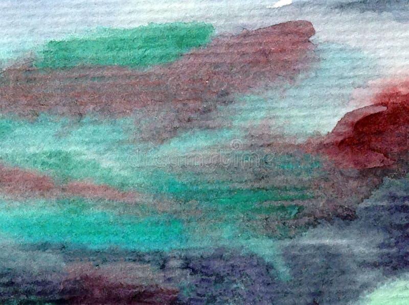 手工制造水彩抽象明亮的五颜六色的质地的背景 天空和云彩绘画在日落期间 现代宇宙啪答声 库存例证