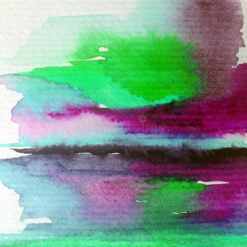 手工制造水彩抽象明亮的五颜六色的质地的背景 天空和云彩绘画在日落期间 现代宇宙啪答声 向量例证