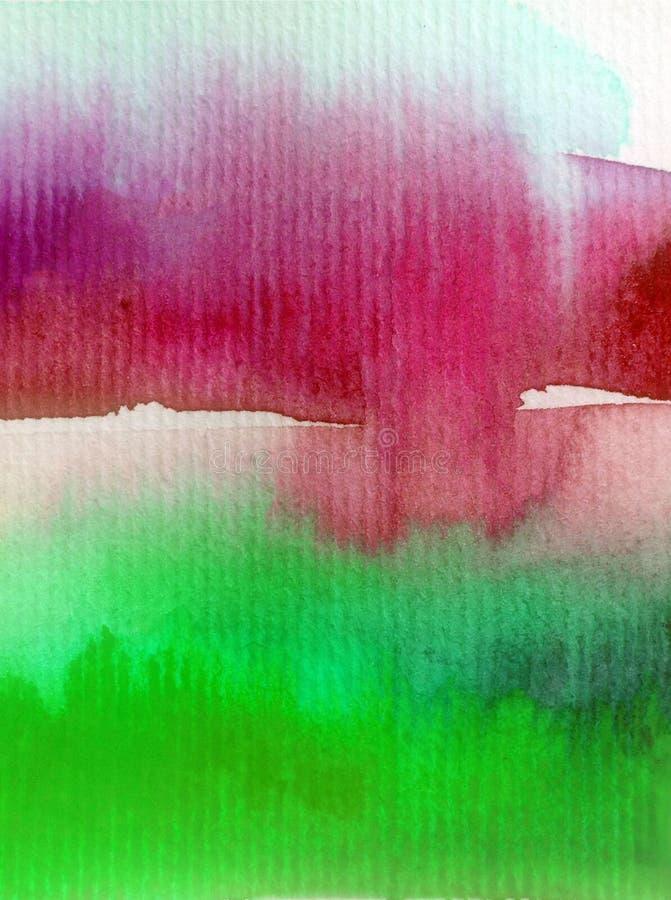 手工制造水彩抽象明亮的五颜六色的质地的背景 天空和云彩绘画在日落期间 现代宇宙样式 向量例证