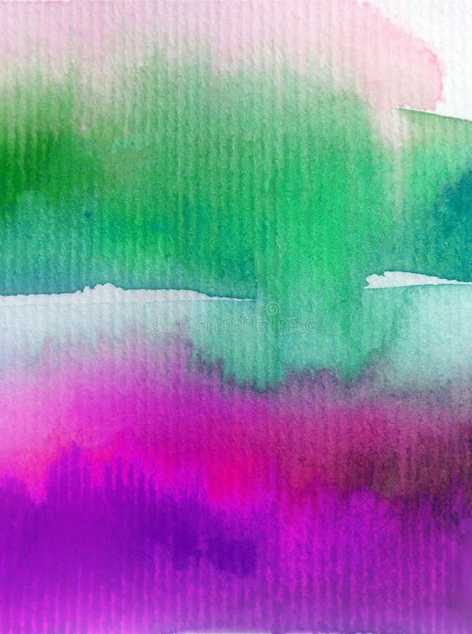 手工制造水彩抽象明亮的五颜六色的质地的背景 天空和云彩绘画在日落期间 现代宇宙样式 库存例证