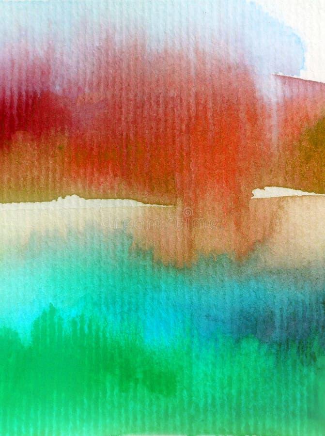手工制造水彩抽象明亮的五颜六色的质地的背景 天空和云彩绘画在日落期间 现代宇宙样式 皇族释放例证