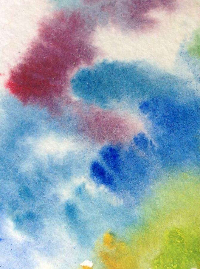 手工制造水彩抽象明亮的五颜六色的质地的背景 天空和云彩绘画在日落期间 现代模式 皇族释放例证