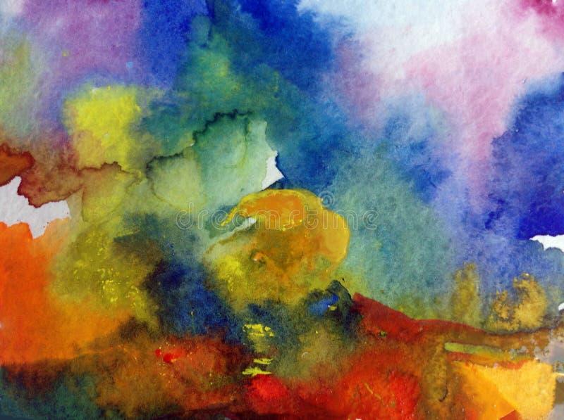 手工制造水彩抽象明亮的五颜六色的质地的背景 天空和云彩绘画在日落期间 现代模式 库存例证