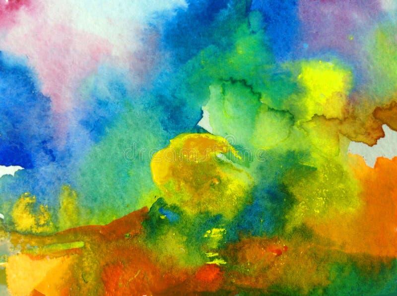 手工制造水彩抽象明亮的五颜六色的质地的背景 天空和云彩绘画在日落期间 现代模式 向量例证