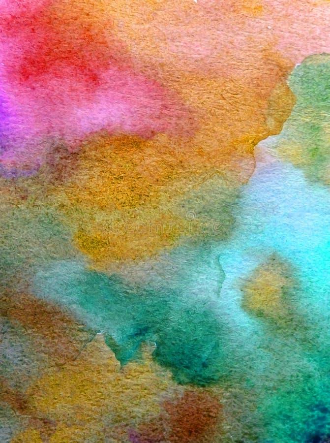 手工制造水彩抽象明亮的五颜六色的质地的背景 水下的世界绘画  现代海景 向量例证
