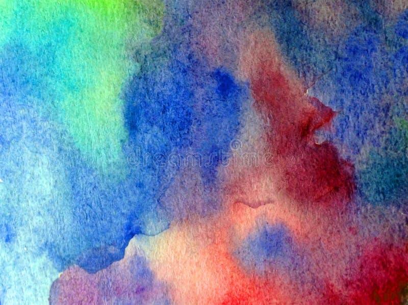手工制造水彩抽象明亮的五颜六色的质地的背景 水下的世界绘画  现代海景 皇族释放例证