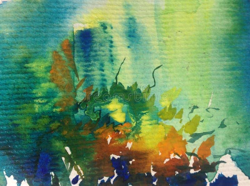 手工制造水彩抽象明亮的五颜六色的质地的背景 海水和水下的世界绘画  皇族释放例证