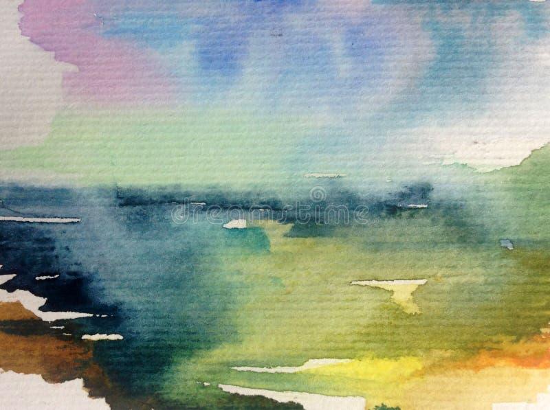 手工制造水彩抽象明亮的五颜六色的质地的背景 海水和水下的世界绘画  通知 皇族释放例证