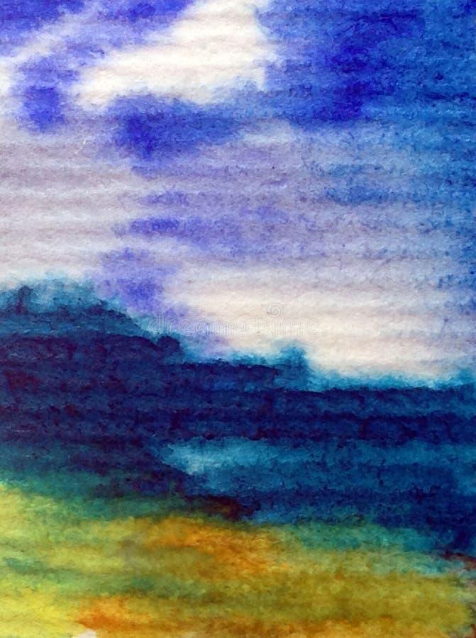 手工制造水彩抽象明亮的五颜六色的质地的背景 海水和水下的世界绘画  库存例证