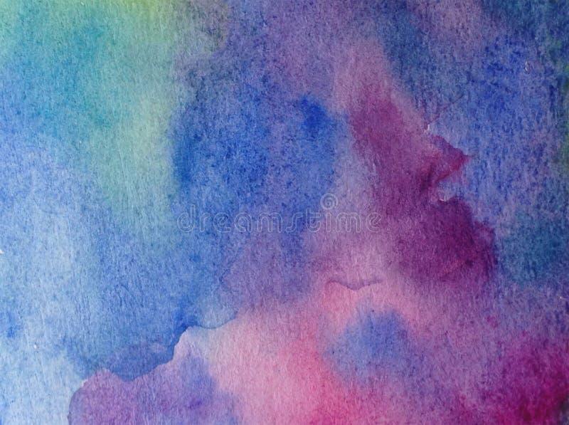 手工制造水彩抽象明亮的五颜六色的质地的背景 海水绘画  现代海景 皇族释放例证