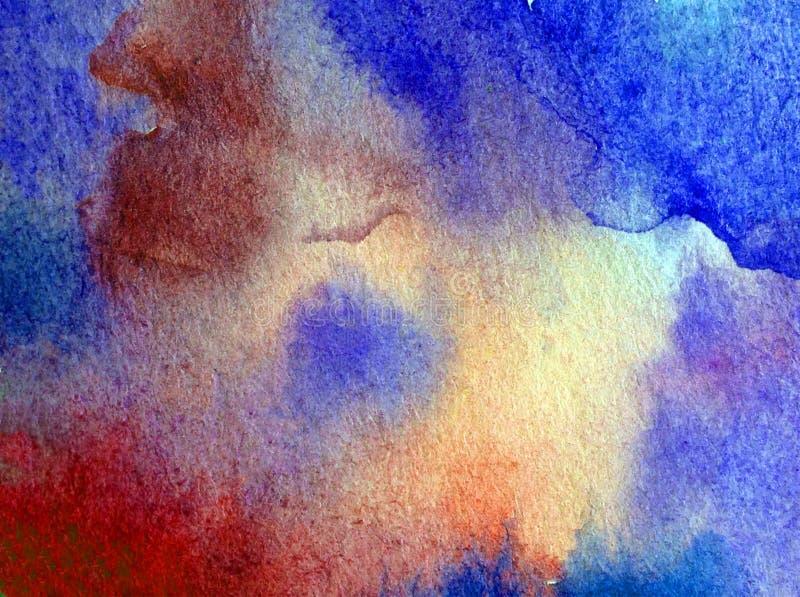 手工制造水彩抽象明亮的五颜六色的质地的背景 海水绘画  现代海景 库存例证