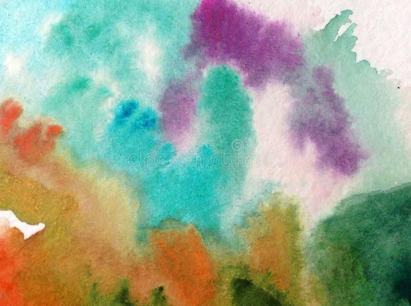 手工制造水彩抽象明亮的五颜六色的质地的背景 绘云彩和天空 现代海样式 皇族释放例证