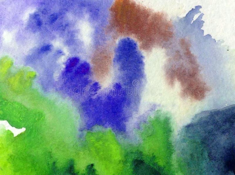 手工制造水彩抽象明亮的五颜六色的质地的背景 绘云彩和天空 现代海样式 向量例证