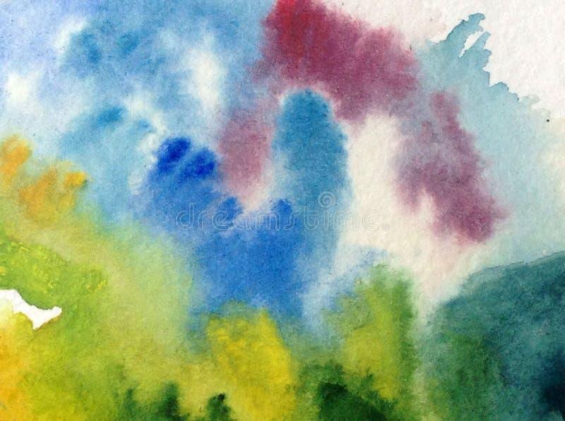 手工制造水彩抽象明亮的五颜六色的质地的背景 绘云彩和天空 现代海样式 库存例证