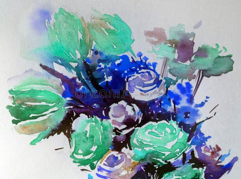 手工制造水彩抽象明亮的五颜六色的质地的背景 花心脏花束绘画  皇族释放例证