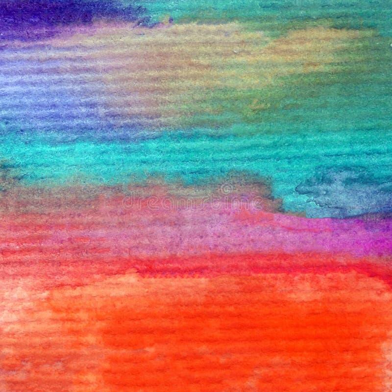 手工制造水彩摘要明亮的五颜六色的质地的背景 天空和云彩绘画在日落期间 现代宇宙啪答声 皇族释放例证
