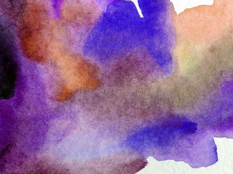 手工制造水彩摘要明亮的五颜六色的质地的背景 天空和云彩绘画在日落期间 现代海景 库存例证