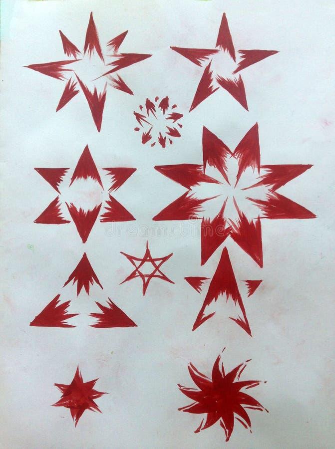 手工制造水彩摘要红色白色质地的背景 装饰星绘画  现代模式 库存例证