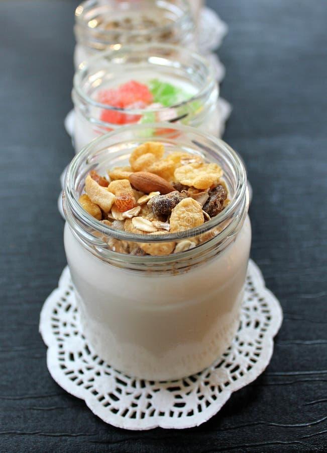 从手工制造的牛奶的自然新鲜的自创酸奶 免版税库存照片