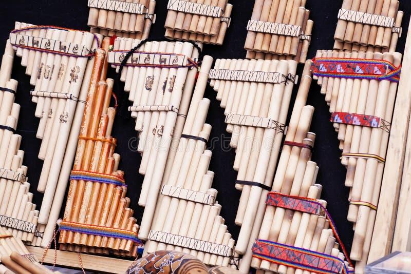 手工制造秘鲁平底锅长笛,秘鲁,南美洲 库存图片