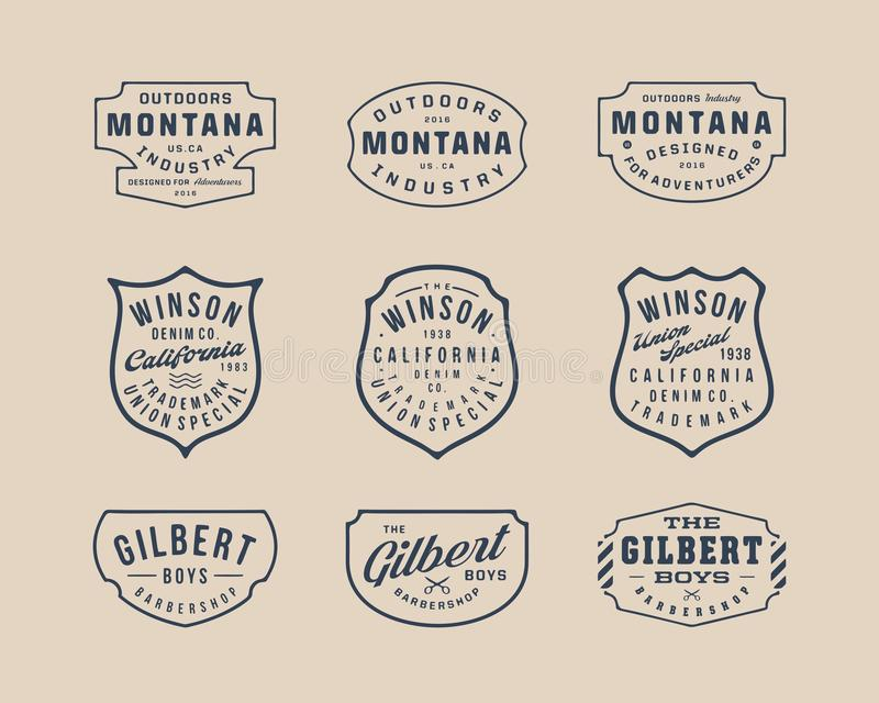手工制造葡萄酒商标、权威和徽章2 免版税图库摄影