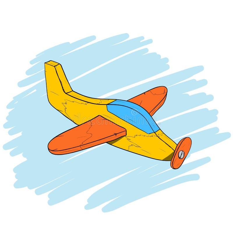手工制造葡萄酒木玩具飞机,等量手拉的传染媒介eps10例证 向量例证