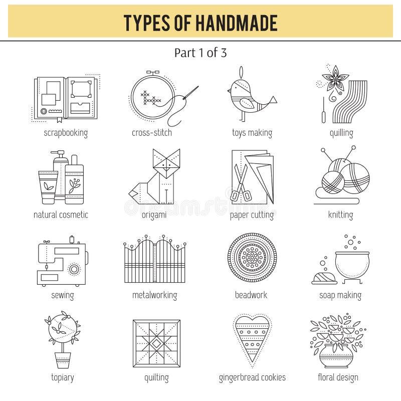 手工制造集合的类型 库存例证