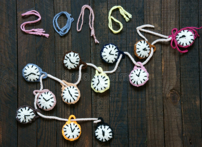 手工制造,时钟,新年好2016年,时间 免版税库存照片