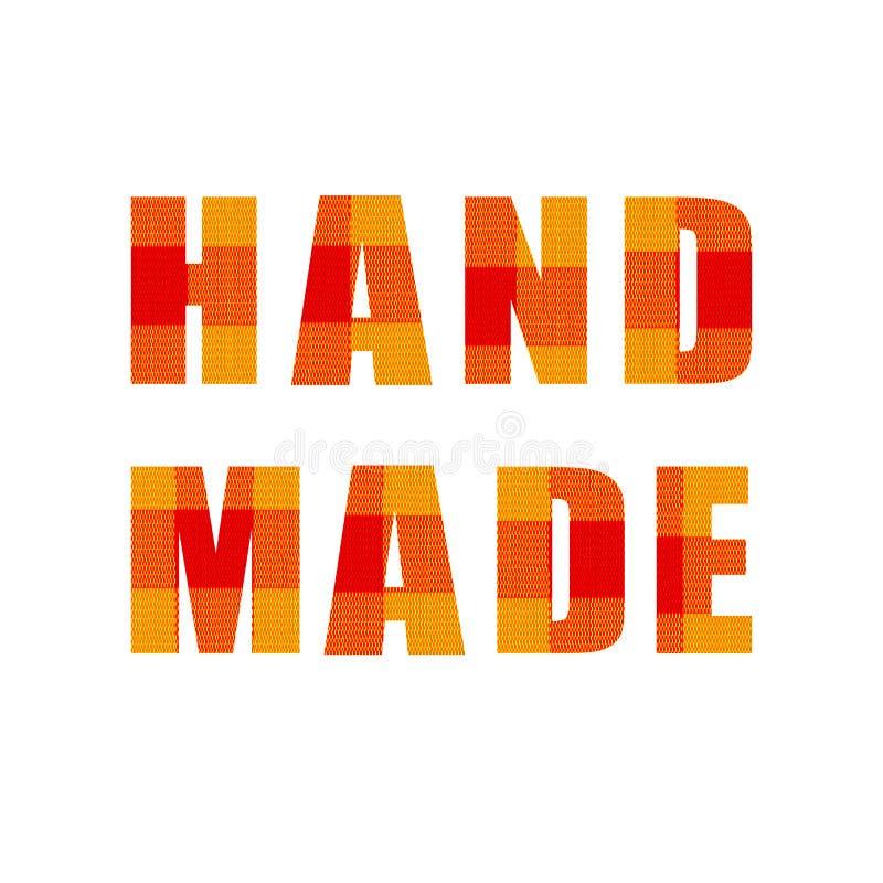 手工制造:传染媒介字法,标签模板,纺织品纹理 库存例证