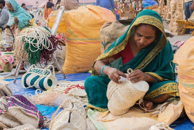 手工制造黄麻在加尔各答公平地请求,印地安工艺品 库存图片