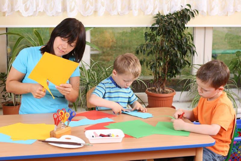 手工学龄前儿童技能 库存照片