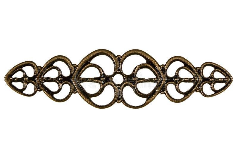 手工工作的金银细丝工,装饰元素,隔绝在白色 免版税库存图片