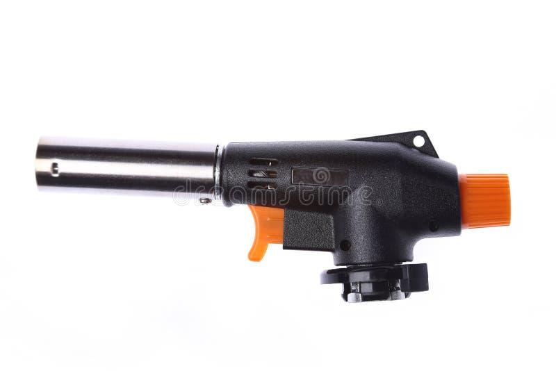 手工气体火炬燃烧器,喷火枪在白色背景野营的,焊接或者修理隔绝的喷灯 免版税库存图片