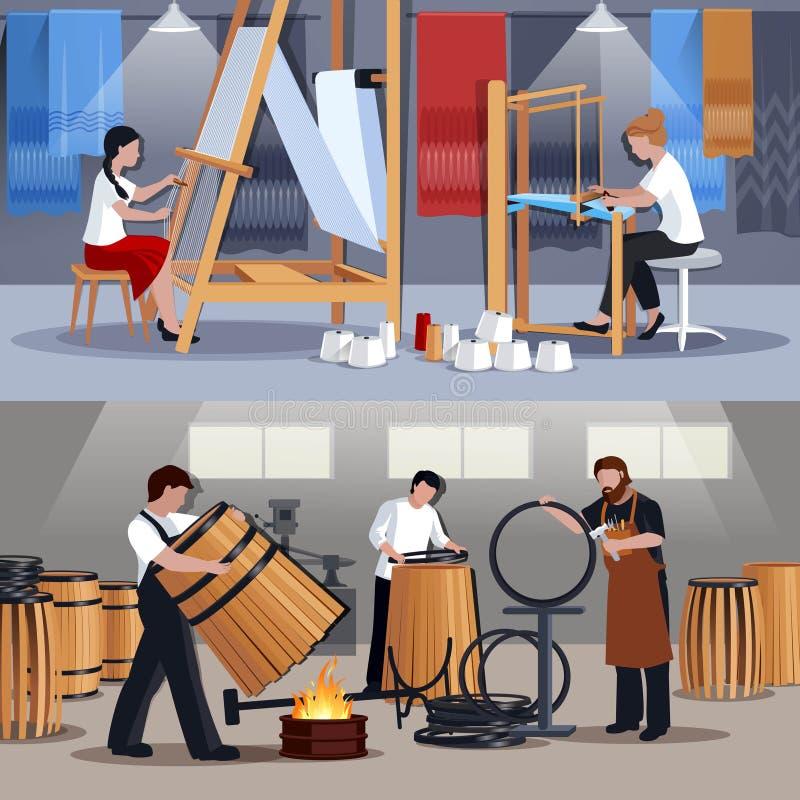 手工艺者织布工和木桶匠平的横幅 库存例证
