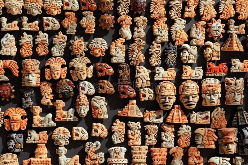 手工造密林玛雅墨西哥木头 免版税库存图片