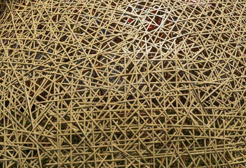 手工造竹织法样式纹理和背景 免版税图库摄影