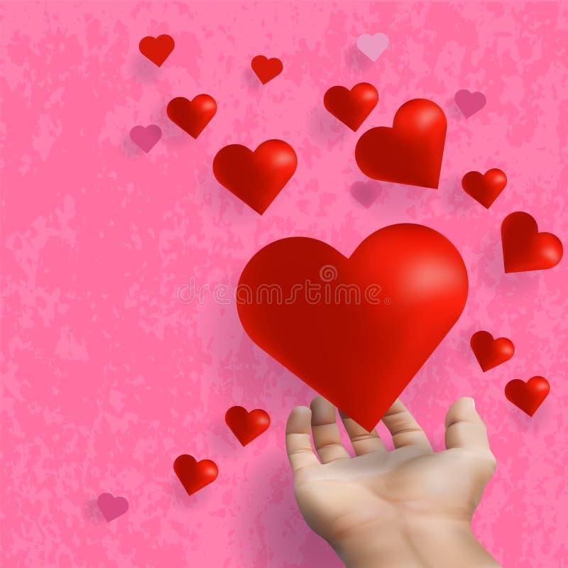 手延长和给漂浮在桃红色背景的红心 皇族释放例证