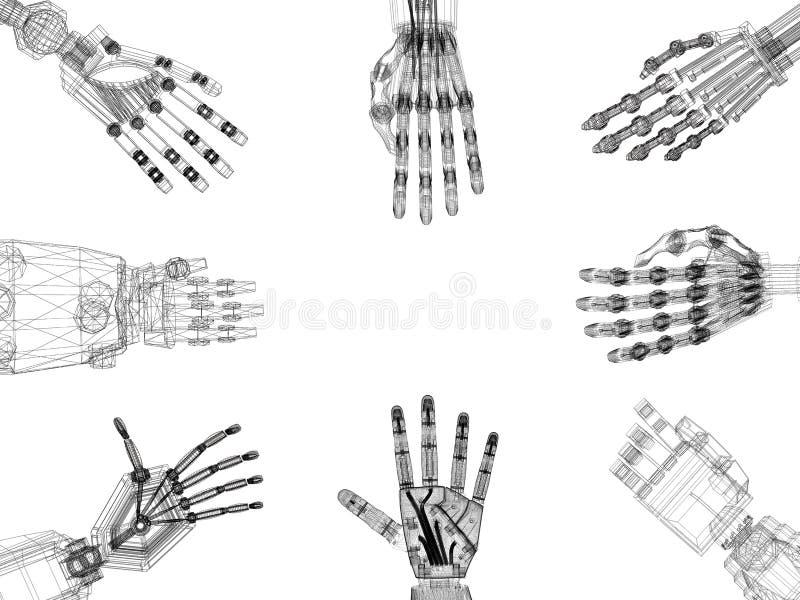 -手建筑师图纸-被隔绝的机器人胳膊 皇族释放例证