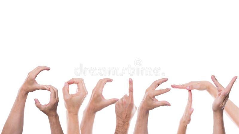 手形成词社会 库存图片