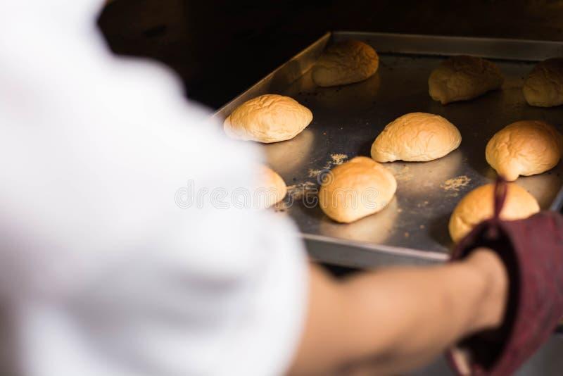 手徒升有厨房手套的从烤箱里边投入或采取面包 采取新鲜面包的手背面图 库存照片