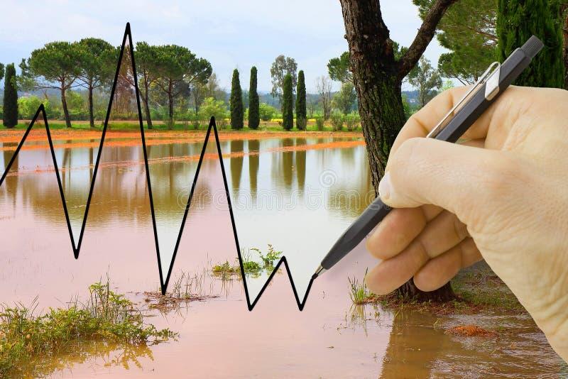 手得出关于季节性降雨量-概念图象的一张图表 图库摄影