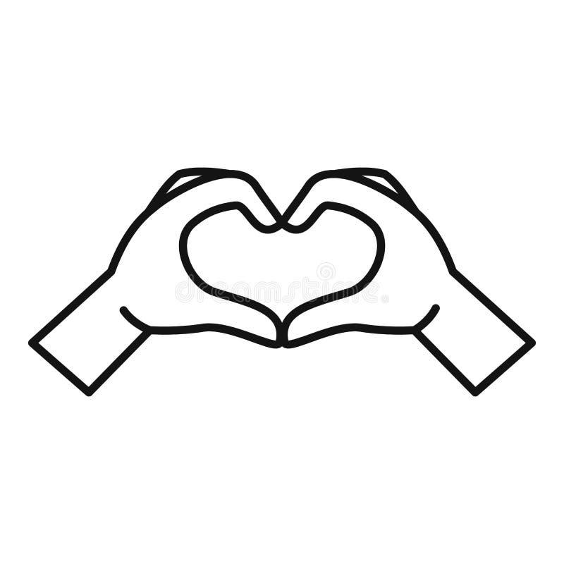 手心脏标志象,概述样式 向量例证