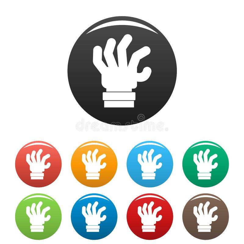 手恐惧象被设置的颜色传染媒介 库存例证