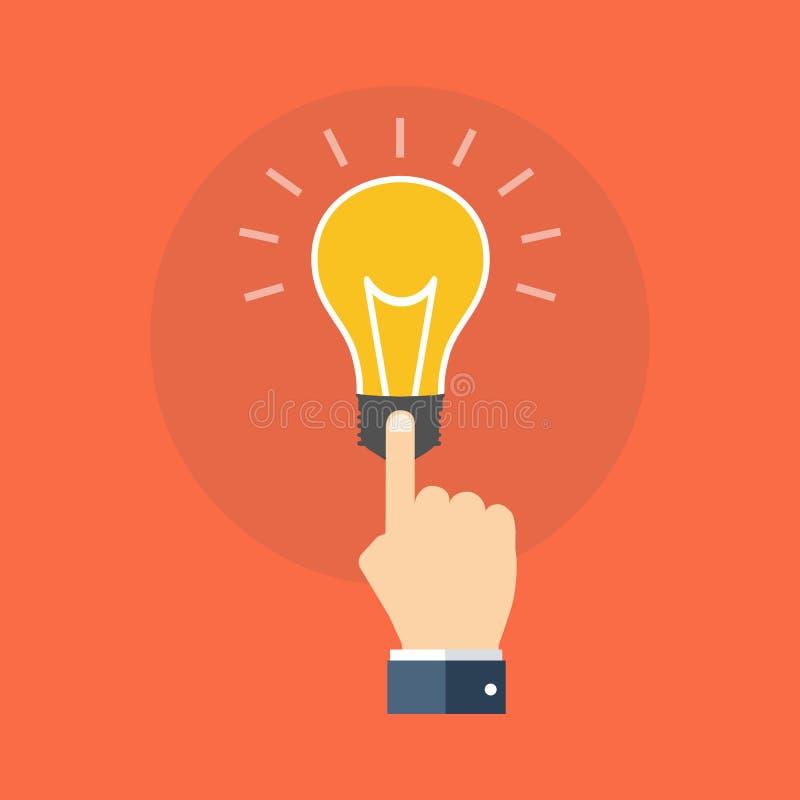手感人的电灯泡 怎么知道概念 平的设计 库存例证