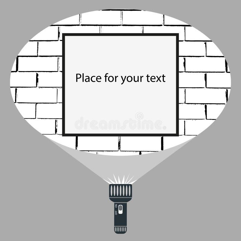 手手电和投射圆的光束平的传染媒介设计在框架或标志垂悬在砖墙上的广告的 皇族释放例证